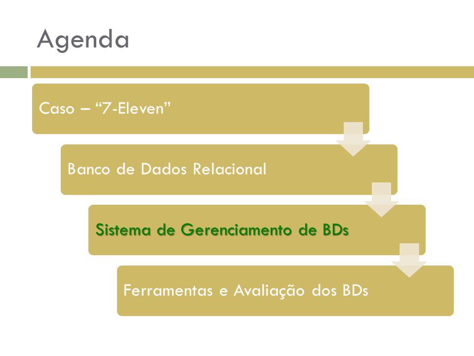 """Agenda Caso – """"7-Eleven""""Banco de Dados Relacional Sistema de Gerenciamento de BDs Ferramentas e Avaliação dos BDs"""