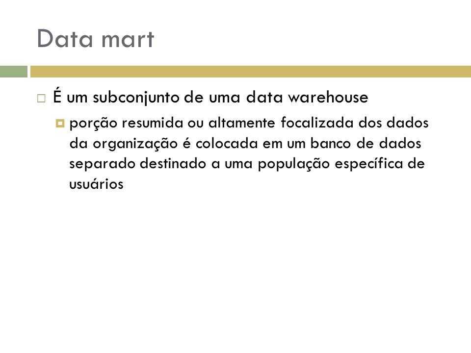 Data mart  É um subconjunto de uma data warehouse  porção resumida ou altamente focalizada dos dados da organização é colocada em um banco de dados