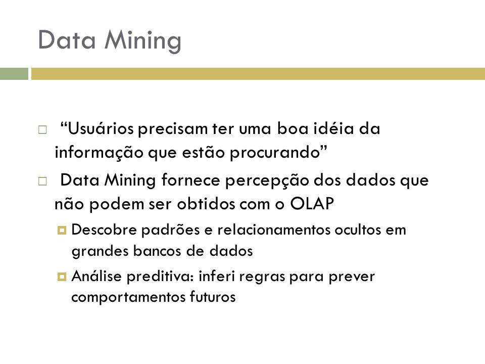 """Data Mining  """"Usuários precisam ter uma boa idéia da informação que estão procurando""""  Data Mining fornece percepção dos dados que não podem ser obt"""