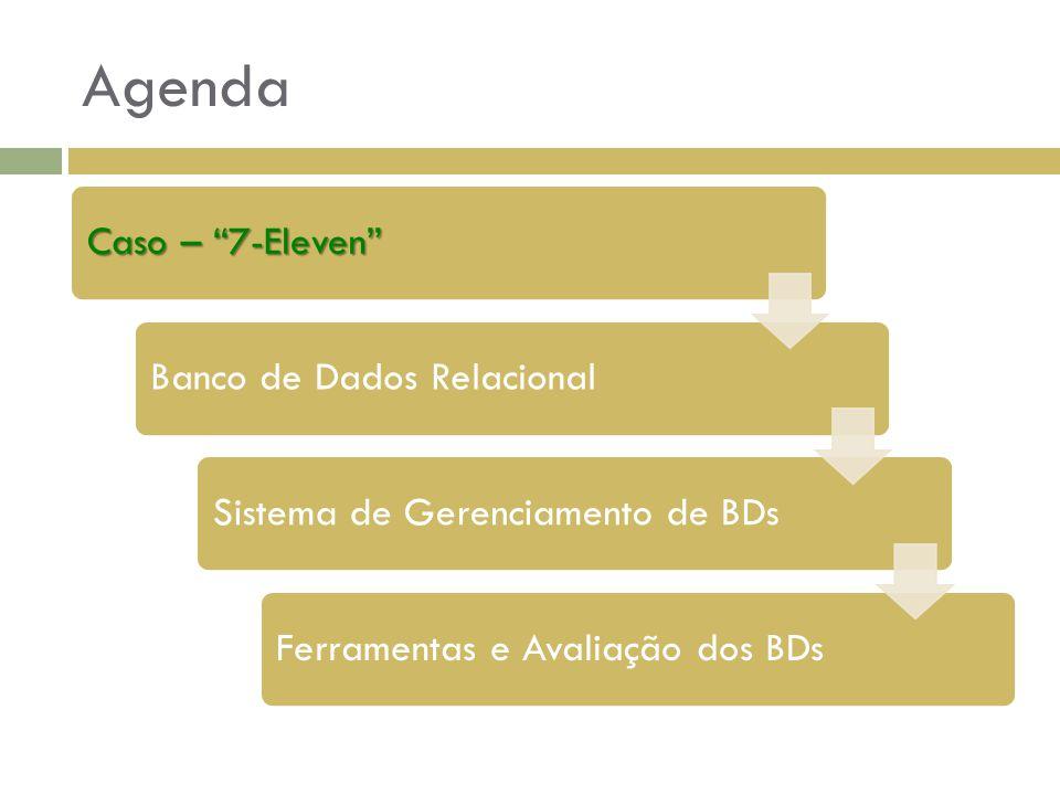 """Agenda Caso – """"7-Eleven"""" Banco de Dados RelacionalSistema de Gerenciamento de BDsFerramentas e Avaliação dos BDs"""