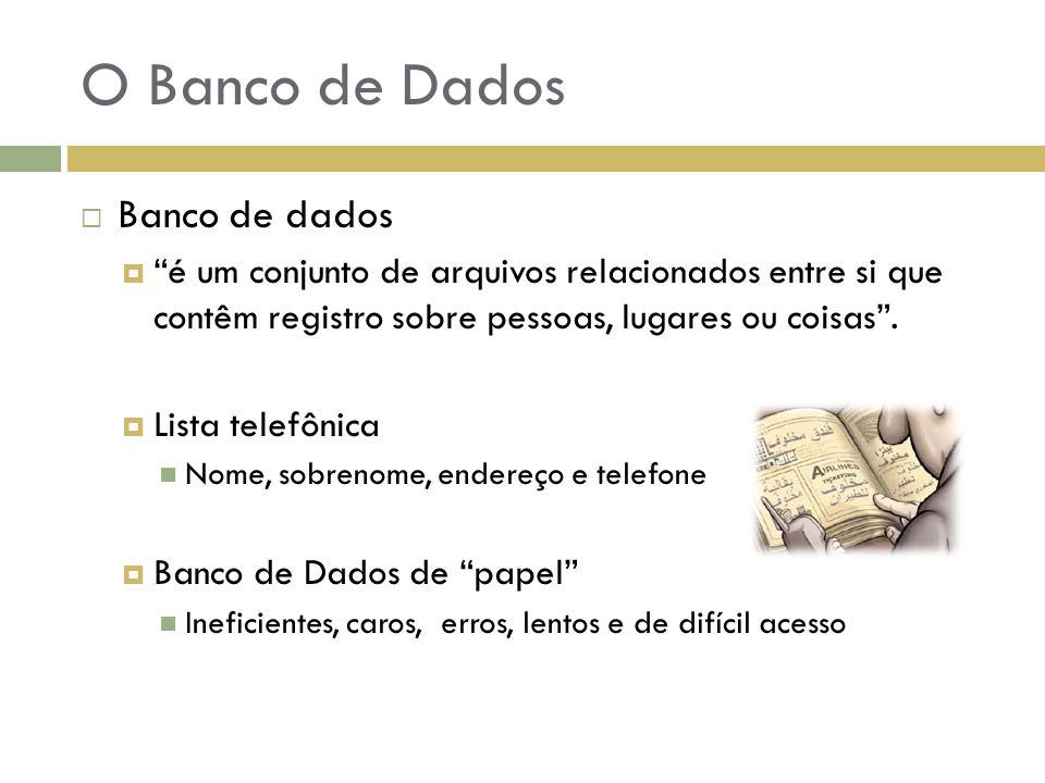 """O Banco de Dados  Banco de dados  """"é um conjunto de arquivos relacionados entre si que contêm registro sobre pessoas, lugares ou coisas"""".  Lista te"""