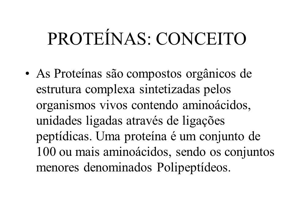 PROTEÍNAS: CONCEITO As Proteínas são compostos orgânicos de estrutura complexa sintetizadas pelos organismos vivos contendo aminoácidos, unidades liga