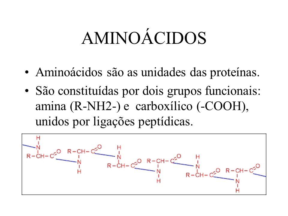 AMINOÁCIDOS Aminoácidos são as unidades das proteínas. São constituídas por dois grupos funcionais: amina (R-NH2-) e carboxílico (-COOH), unidos por l