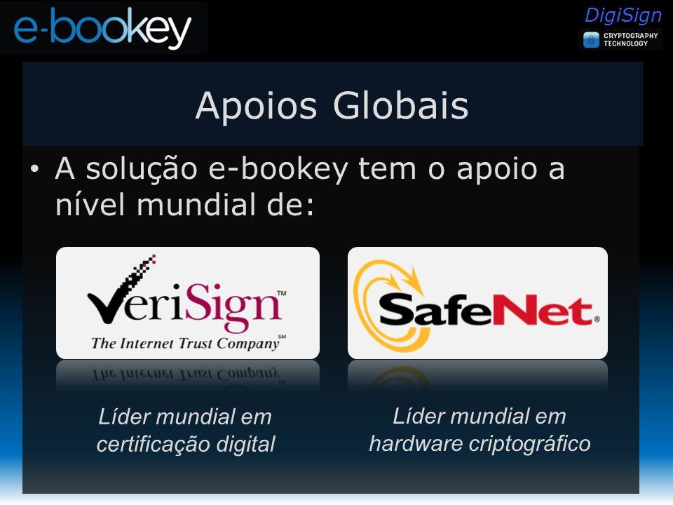 DigiSign Apoios Globais A solução e-bookey tem o apoio a nível mundial de: Líder mundial em certificação digital Líder mundial em hardware criptográfico