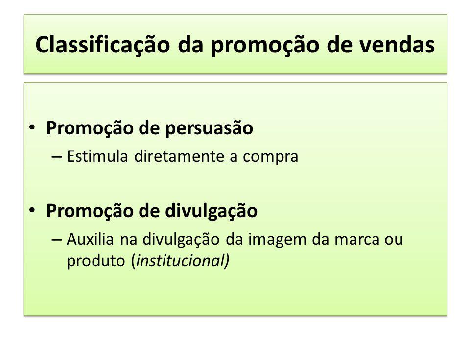 Classificação da promoção de vendas Promoção de persuasão – Estimula diretamente a compra Promoção de divulgação – Auxilia na divulgação da imagem da