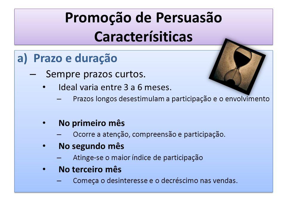 Promoção de Persuasão Caracterísiticas a)Prazo e duração – Sempre prazos curtos. Ideal varia entre 3 a 6 meses. – Prazos longos desestimulam a partici