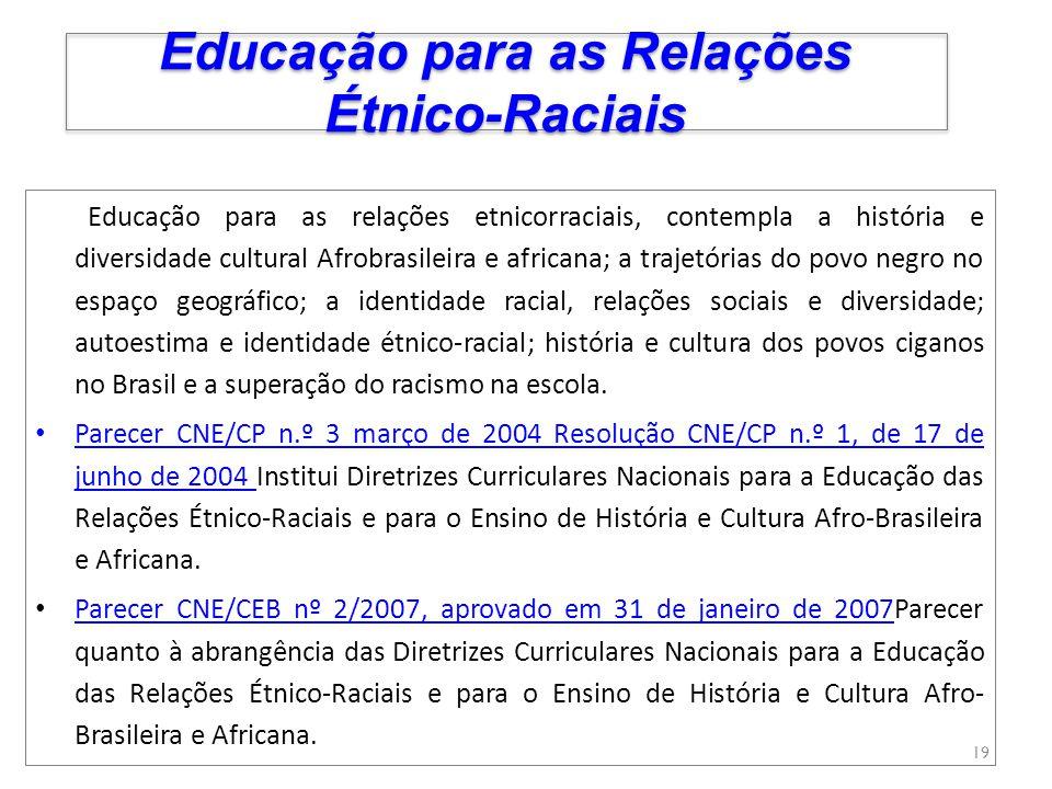 Educação para as relações etnicorraciais, contempla a história e diversidade cultural Afrobrasileira e africana; a trajetórias do povo negro no espaço