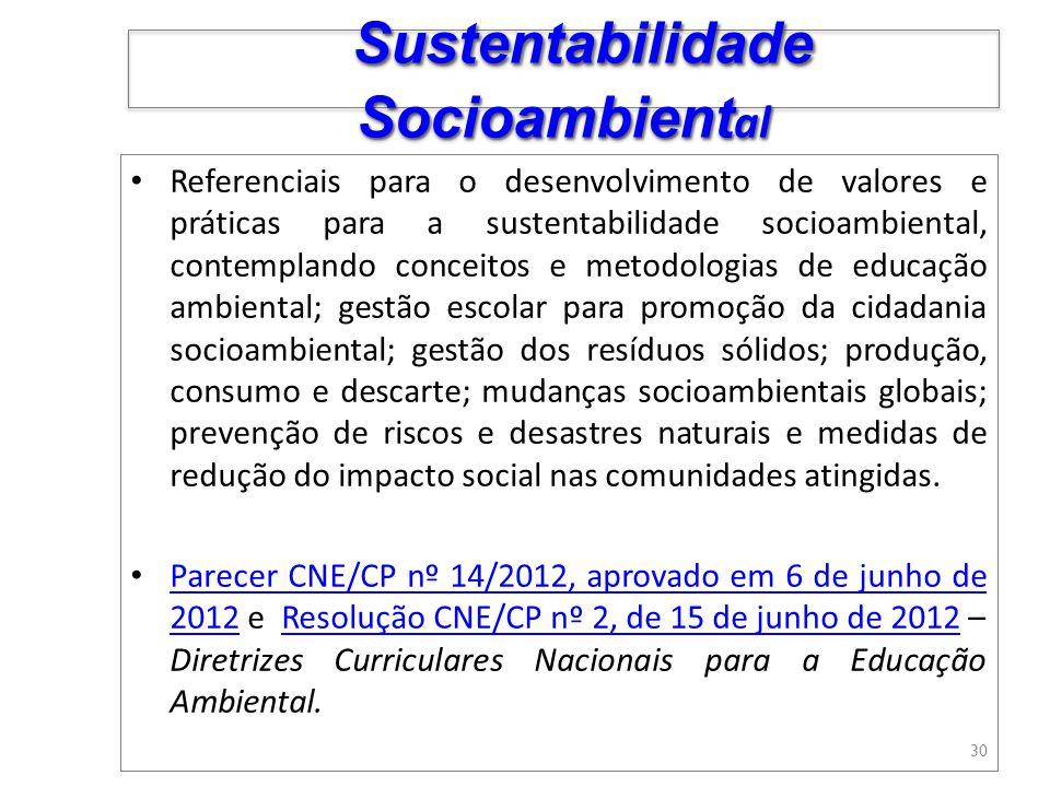 Referenciais para o desenvolvimento de valores e práticas para a sustentabilidade socioambiental, contemplando conceitos e metodologias de educação am