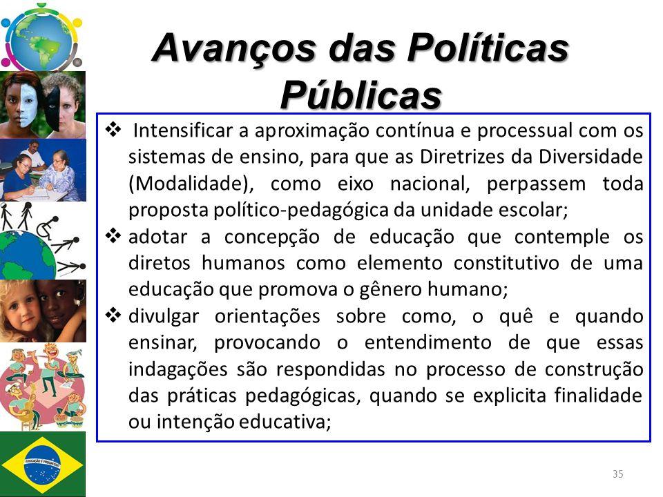 Avanços das Políticas Públicas  Intensificar a aproximação contínua e processual com os sistemas de ensino, para que as Diretrizes da Diversidade (Mo