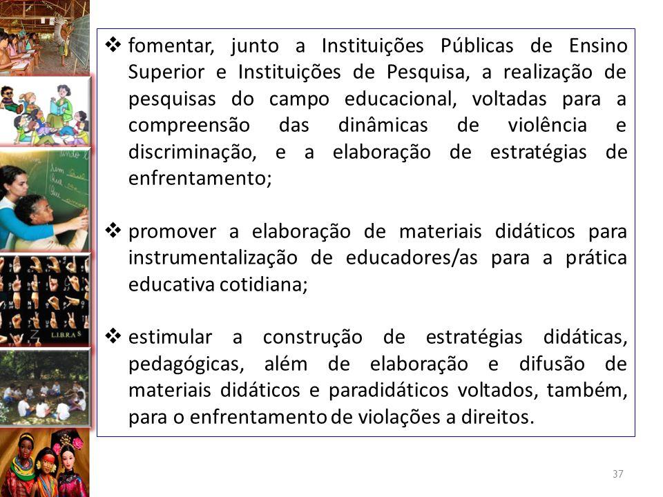  fomentar, junto a Instituições Públicas de Ensino Superior e Instituições de Pesquisa, a realização de pesquisas do campo educacional, voltadas para