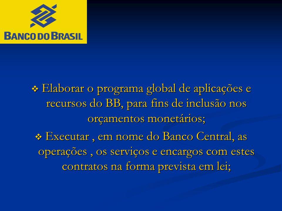  Elaborar o programa global de aplicações e recursos do BB, para fins de inclusão nos orçamentos monetários;  Executar, em nome do Banco Central, as