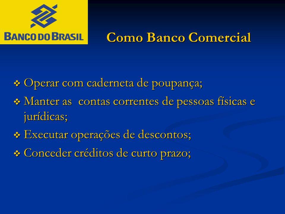 Como Banco Comercial  Operar com caderneta de poupança;  Manter as contas correntes de pessoas físicas e jurídicas;  Executar operações de desconto