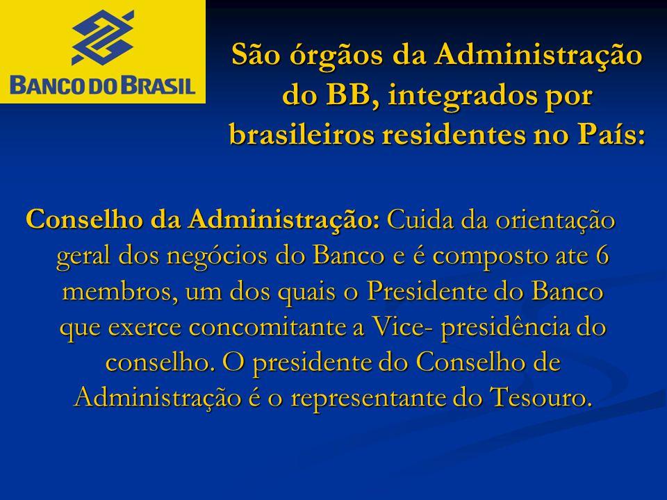 São órgãos da Administração do BB, integrados por brasileiros residentes no País: Conselho da Administração: Cuida da orientação geral dos negócios do