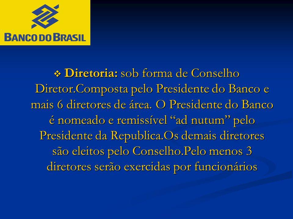  Diretoria: sob forma de Conselho Diretor.Composta pelo Presidente do Banco e mais 6 diretores de área. O Presidente do Banco é nomeado e remissível