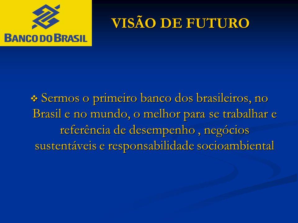 VISÃO DE FUTURO VISÃO DE FUTURO  Sermos o primeiro banco dos brasileiros, no Brasil e no mundo, o melhor para se trabalhar e referência de desempenho