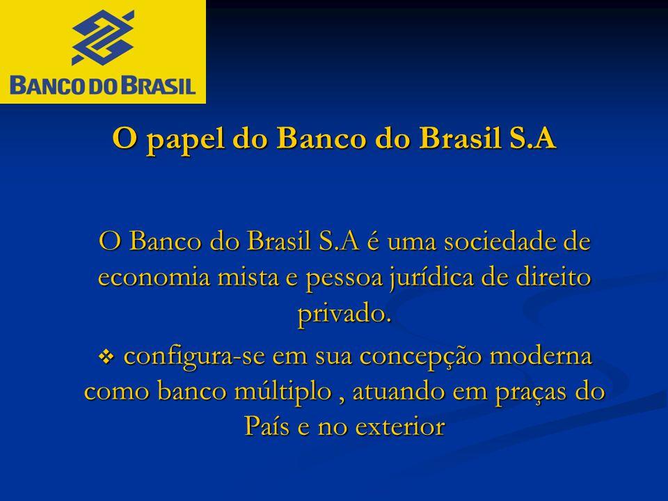 O papel do Banco do Brasil S.A O Banco do Brasil S.A é uma sociedade de economia mista e pessoa jurídica de direito privado.  configura-se em sua con