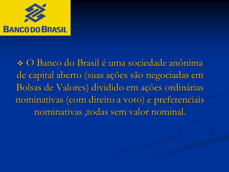  O Banco do Brasil é uma sociedade anônima de capital aberto (suas ações são negociadas em Bolsas de Valores) dividido em ações ordinárias nominativa