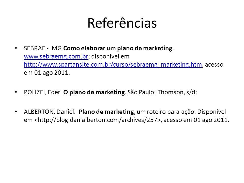Referências SEBRAE - MG Como elaborar um plano de marketing.
