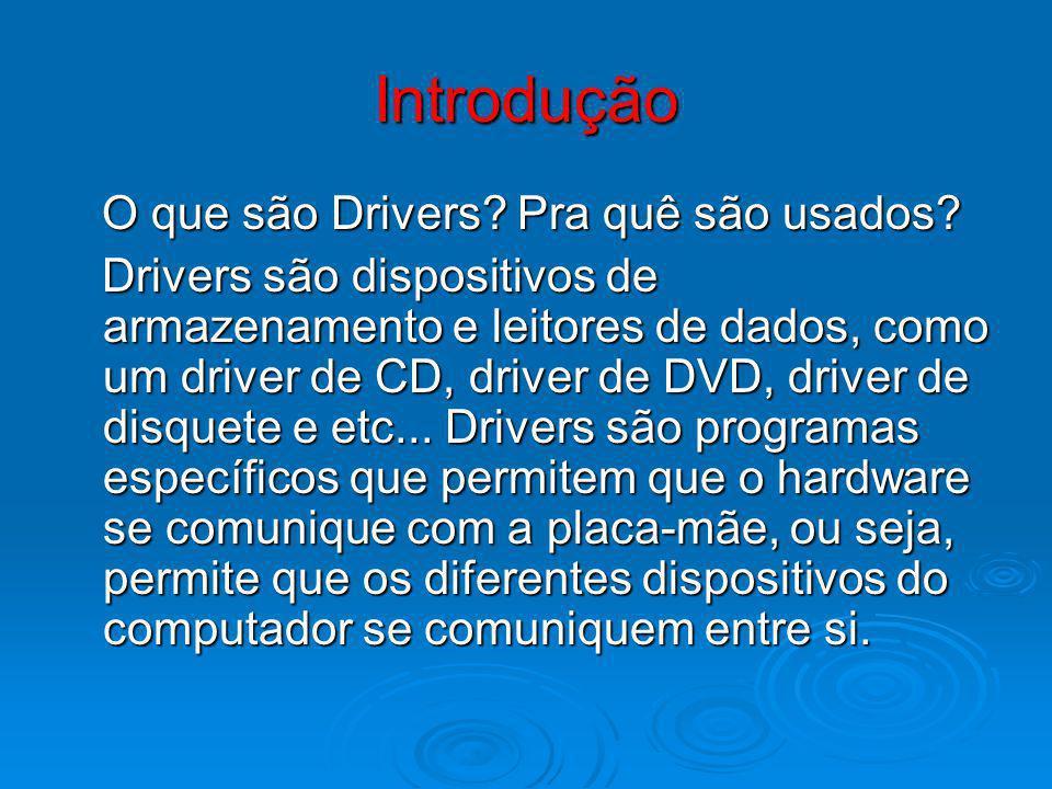 Introdução O que são Drivers? Pra quê são usados? O que são Drivers? Pra quê são usados? Drivers são dispositivos de armazenamento e leitores de dados