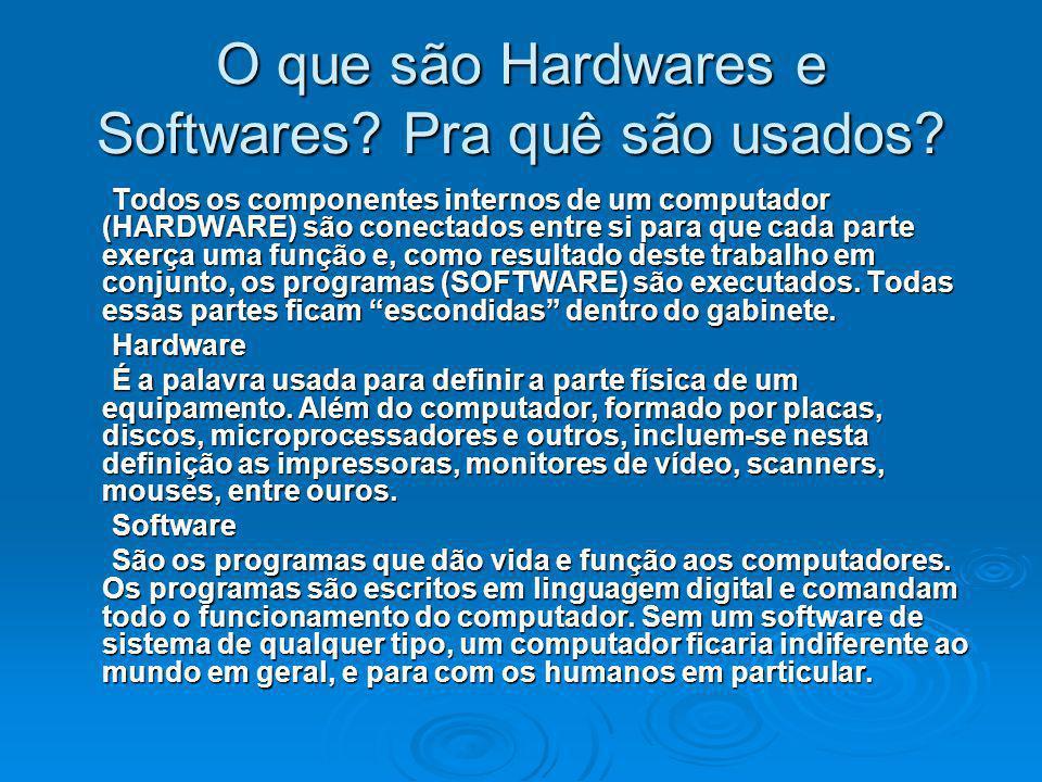 O que são Hardwares e Softwares? Pra quê são usados? Todos os componentes internos de um computador (HARDWARE) são conectados entre si para que cada p