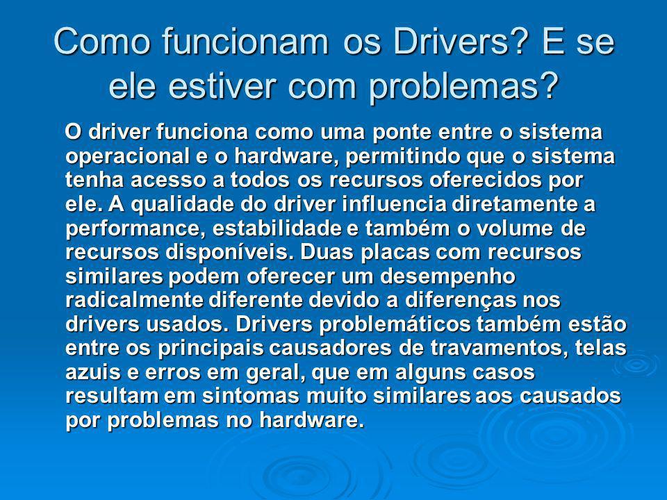 Como funcionam os Drivers? E se ele estiver com problemas? O driver funciona como uma ponte entre o sistema operacional e o hardware, permitindo que o