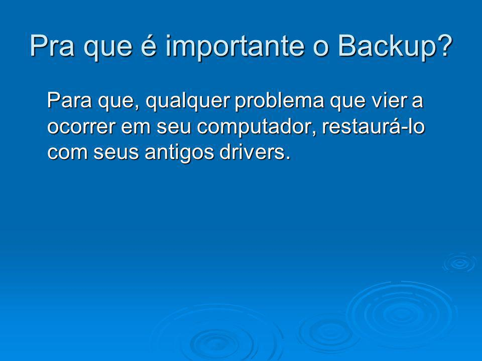 Pra que é importante o Backup? Para que, qualquer problema que vier a ocorrer em seu computador, restaurá-lo com seus antigos drivers. Para que, qualq