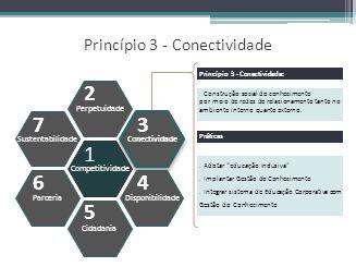 Princípio 3 - Conectividade Competitividade Perpetuidade Cidadania Conectividade Disponibilidade Sustentabilidade Parceria 1 2 5 3 4 7 6 Construção so