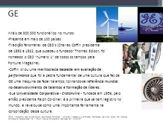 GE -Mais de 300.000 funcionários no mundo -Presente em mais de 100 países -Tradição fenomenal de CEO's (Charles Coffin presidente de 1892 a 1922, que
