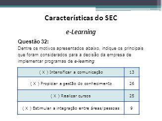 e-Learning ( X ) Intensificar a comunicação13 ( X ) Propiciar a gestão do conhecimento26 ( X ) Realizar cursos25 ( X ) Estimular a integração entre ár