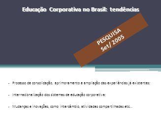– Processo de consolidação, aprimoramento e ampliação das experiências já existentes; – Internacionalização dos sistemas de educação corporativa; – Mu