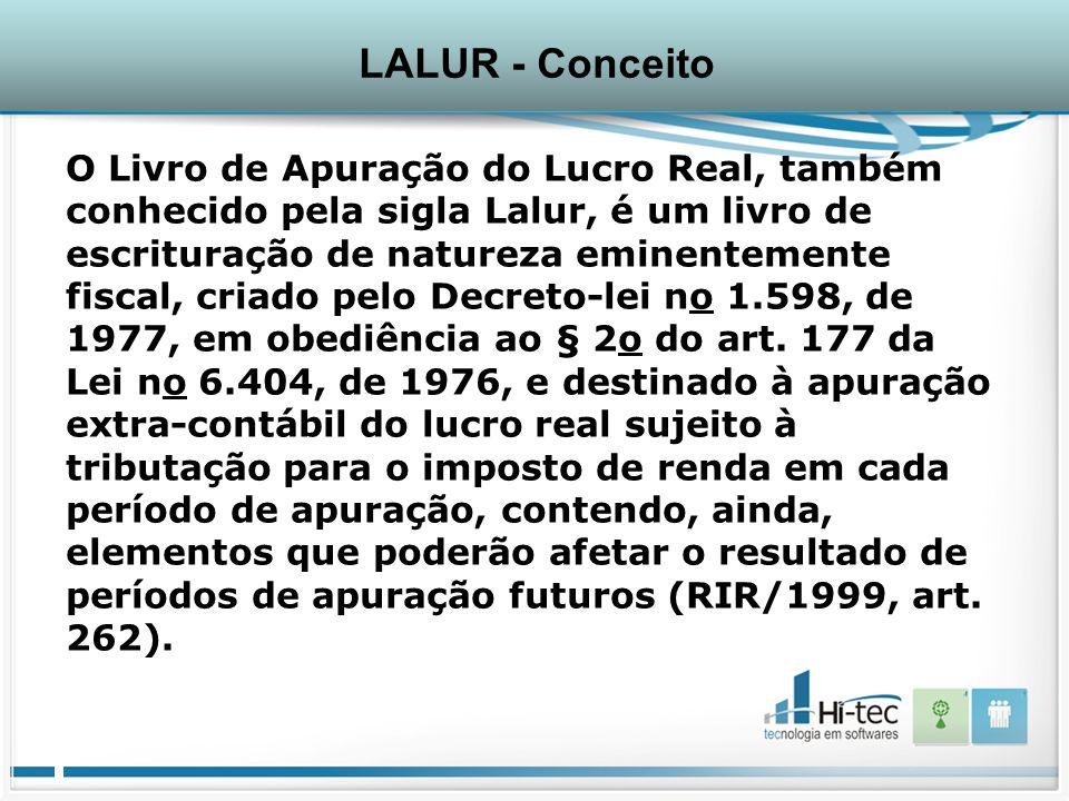 O Livro de Apuração do Lucro Real, também conhecido pela sigla Lalur, é um livro de escrituração de natureza eminentemente fiscal, criado pelo Decreto-lei no 1.598, de 1977, em obediência ao § 2o do art.
