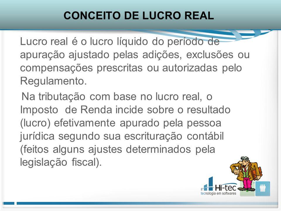 Lucro real é o lucro líquido do período de apuração ajustado pelas adições, exclusões ou compensações prescritas ou autorizadas pelo Regulamento.
