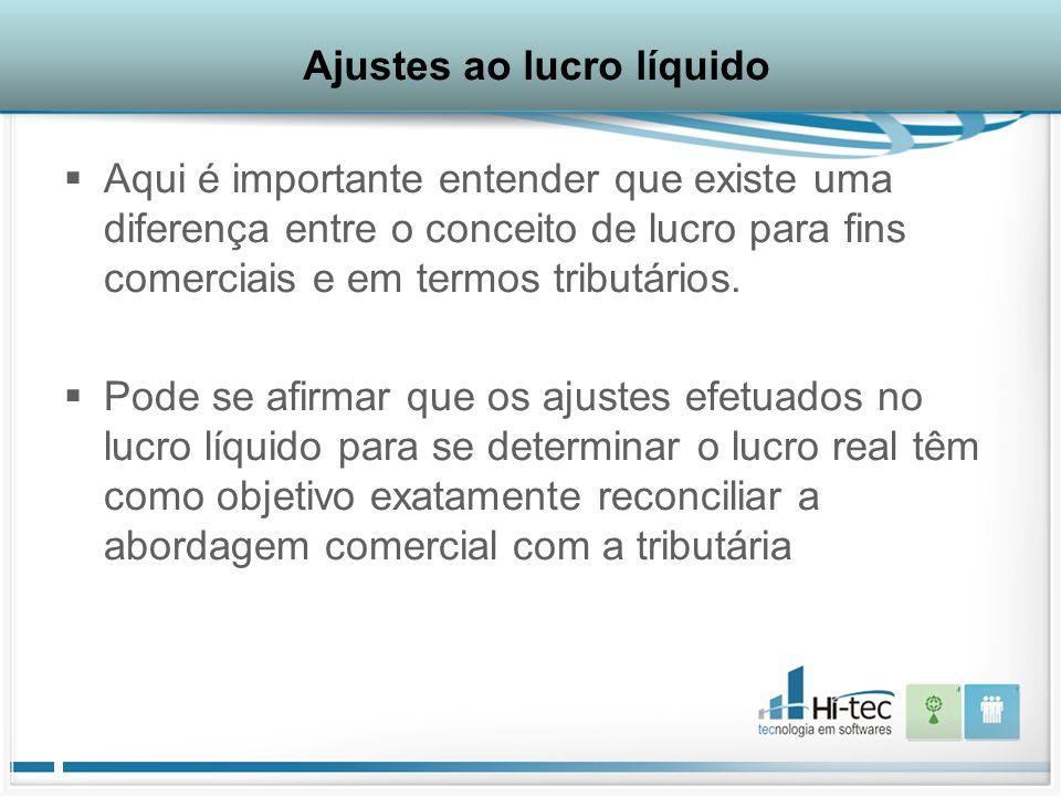 Ajustes ao lucro líquido  Aqui é importante entender que existe uma diferença entre o conceito de lucro para fins comerciais e em termos tributários.