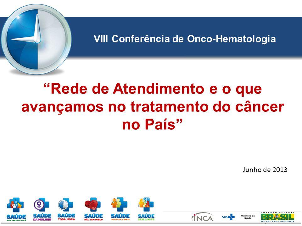 Junho de 2013 Rede de Atendimento e o que avançamos no tratamento do câncer no País VIII Conferência de Onco-Hematologia