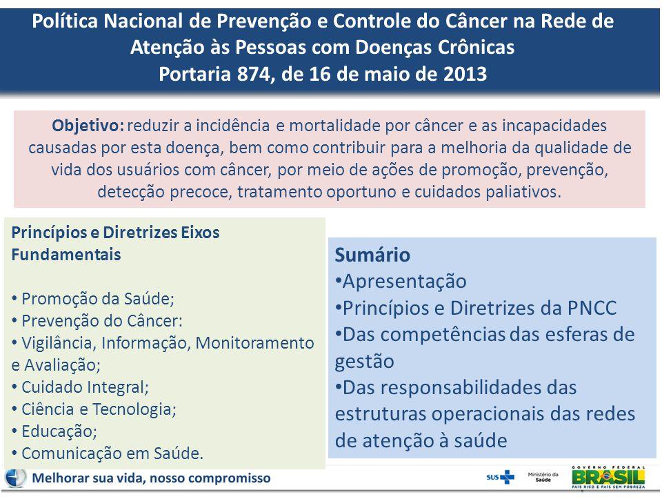 Política Nacional de Prevenção e Controle do Câncer na Rede de Atenção às Pessoas com Doenças Crônicas Portaria 874, de 16 de maio de 2013 Objetivo: r