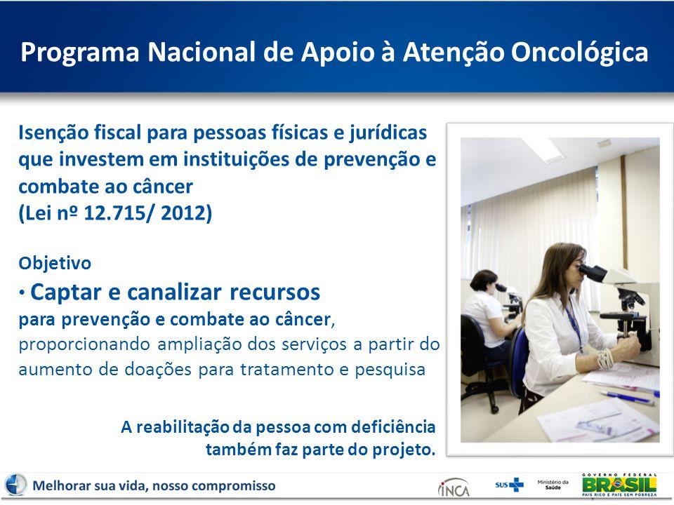 Programa Nacional de Apoio à Atenção Oncológica Isenção fiscal para pessoas físicas e jurídicas que investem em instituições de prevenção e combate ao