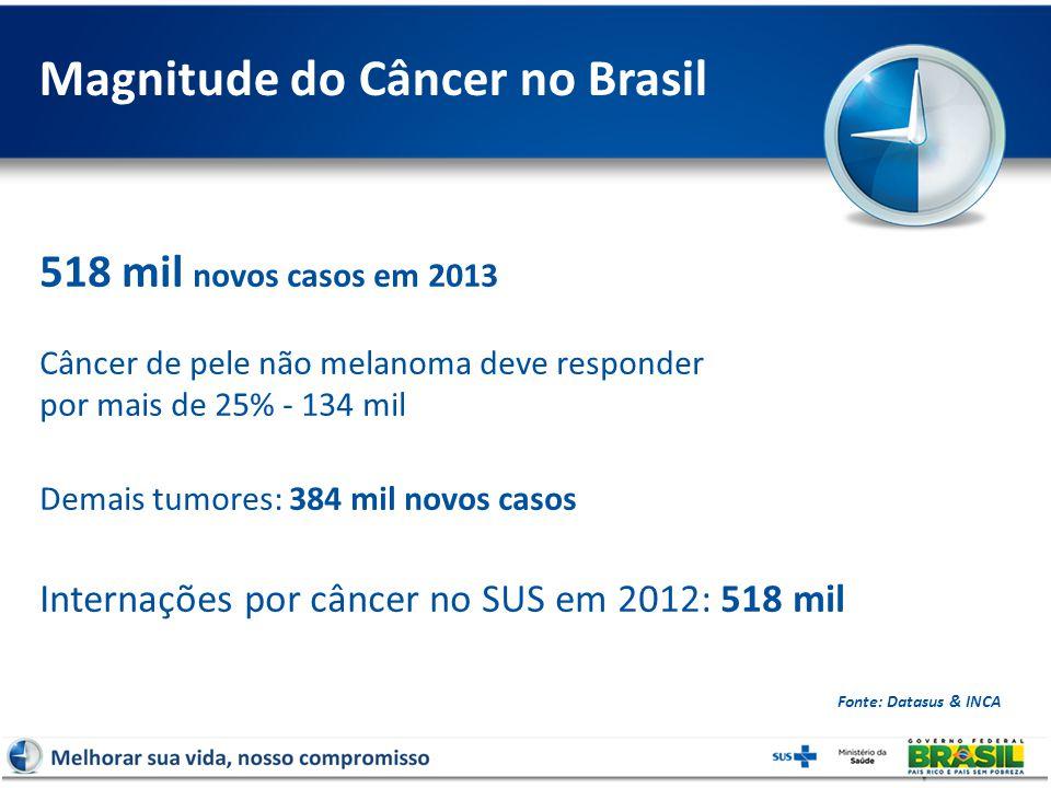 Magnitude do Câncer no Brasil Fonte: Datasus & INCA 518 mil novos casos em 2013 Câncer de pele não melanoma deve responder por mais de 25% - 134 mil Demais tumores: 384 mil novos casos Internações por câncer no SUS em 2012: 518 mil