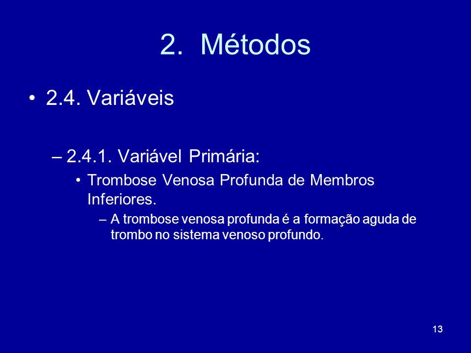 13 2.Métodos 2.4. Variáveis –2.4.1.