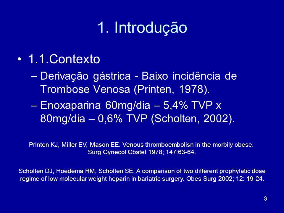 3 1. Introdução 1.1.Contexto –Derivação gástrica - Baixo incidência de Trombose Venosa (Printen, 1978). –Enoxaparina 60mg/dia – 5,4% TVP x 80mg/dia –