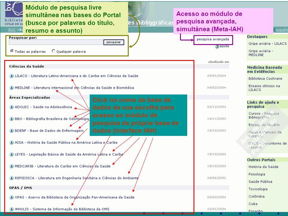 Click no nome da base de dados de sua escolha para acesso ao módulo de pesquisa da própria base de dados (interface IAH) Módulo de pesquisa livre simultânea nas bases do Portal (busca por palavras do título, resumo e assunto) Acesso ao módulo de pesquisa avançada, simultânea (Meta-IAH) Área de links e destaques do Portal