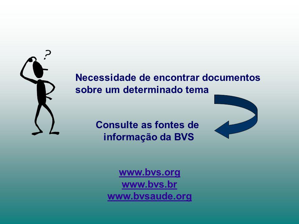 Necessidade de encontrar documentos sobre um determinado tema Consulte as fontes de informação da BVS www.bvs.org www.bvs.br www.bvsaude.org