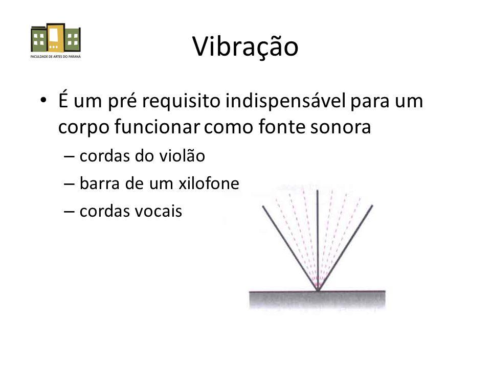 Vibração É um pré requisito indispensável para um corpo funcionar como fonte sonora – cordas do violão – barra de um xilofone – cordas vocais