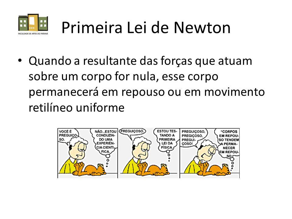 Primeira Lei de Newton Quando a resultante das forças que atuam sobre um corpo for nula, esse corpo permanecerá em repouso ou em movimento retilíneo u