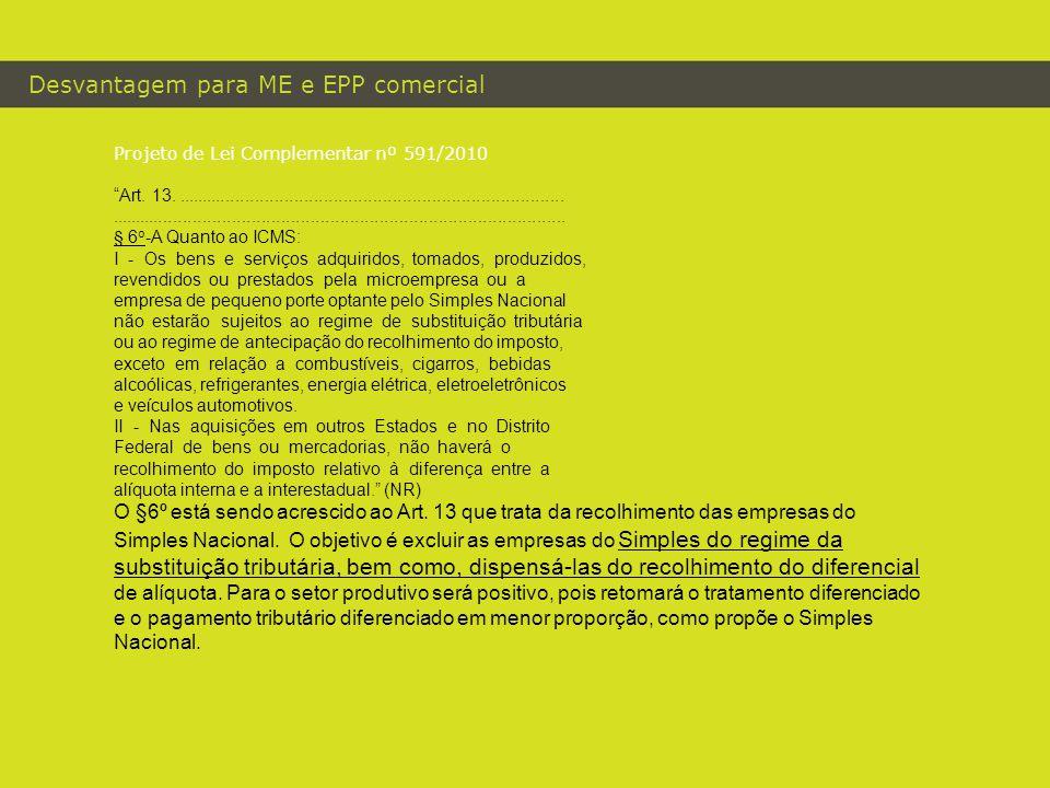 "Desvantagem para ME e EPP comercial Projeto de Lei Complementar nº 591/2010 ""Art. 13.................................................................."