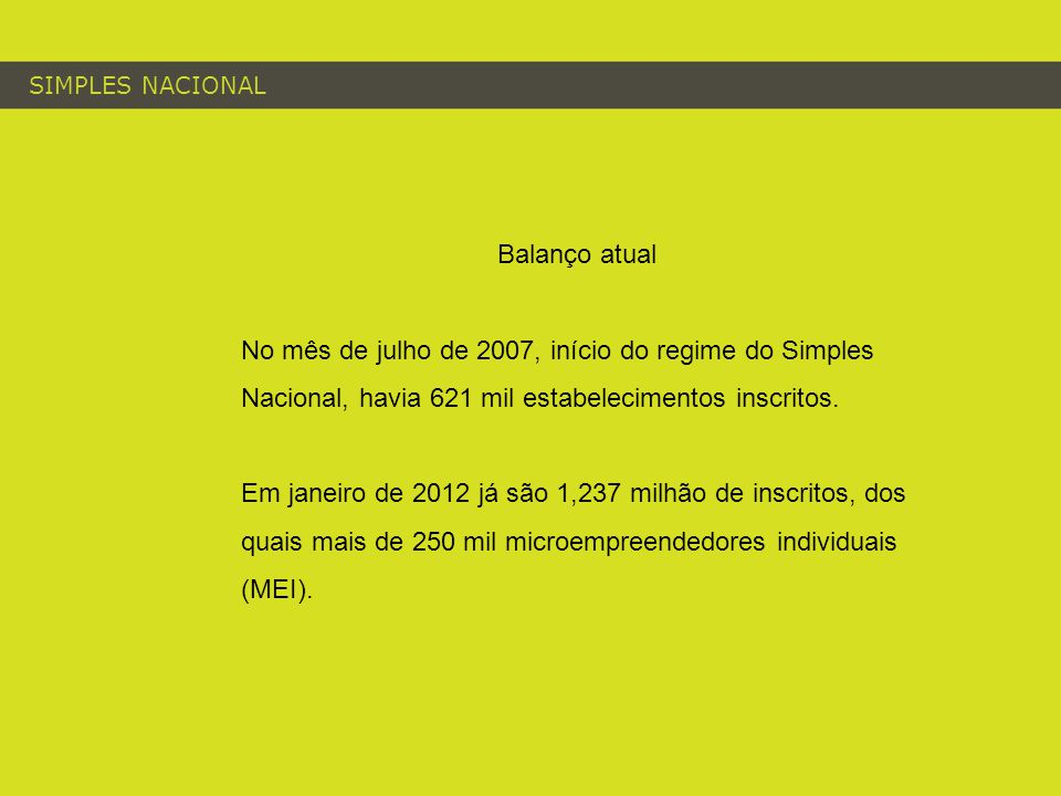 SIMPLES NACIONAL Balanço atual No mês de julho de 2007, início do regime do Simples Nacional, havia 621 mil estabelecimentos inscritos. Em janeiro de