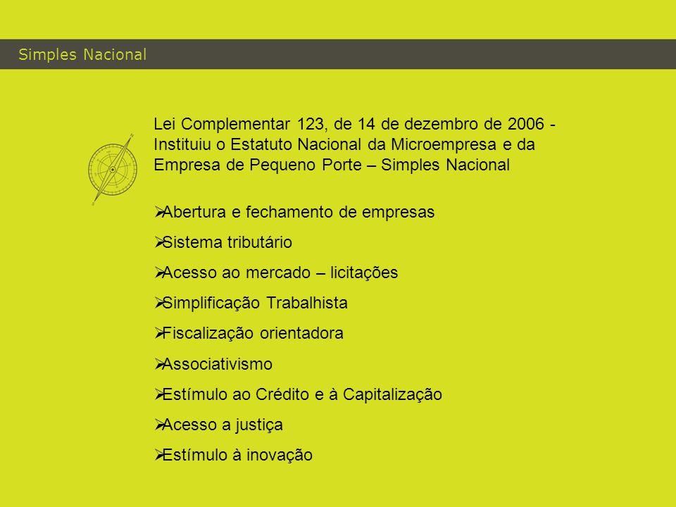 Simples Nacional Lei Complementar 123, de 14 de dezembro de 2006 - Instituiu o Estatuto Nacional da Microempresa e da Empresa de Pequeno Porte – Simpl