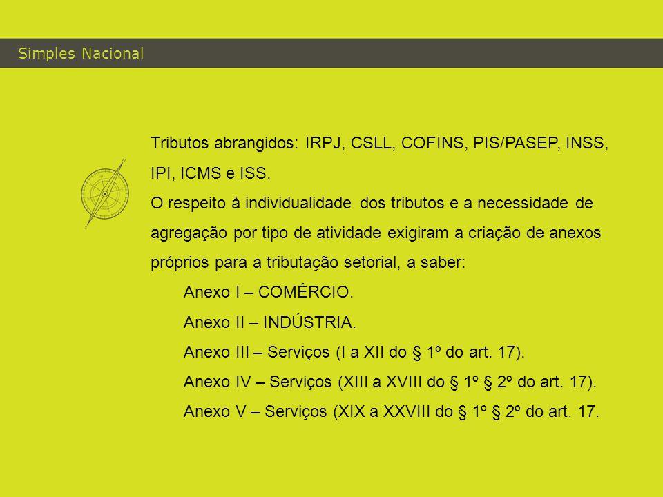 Simples Nacional Tributos abrangidos: IRPJ, CSLL, COFINS, PIS/PASEP, INSS, IPI, ICMS e ISS.