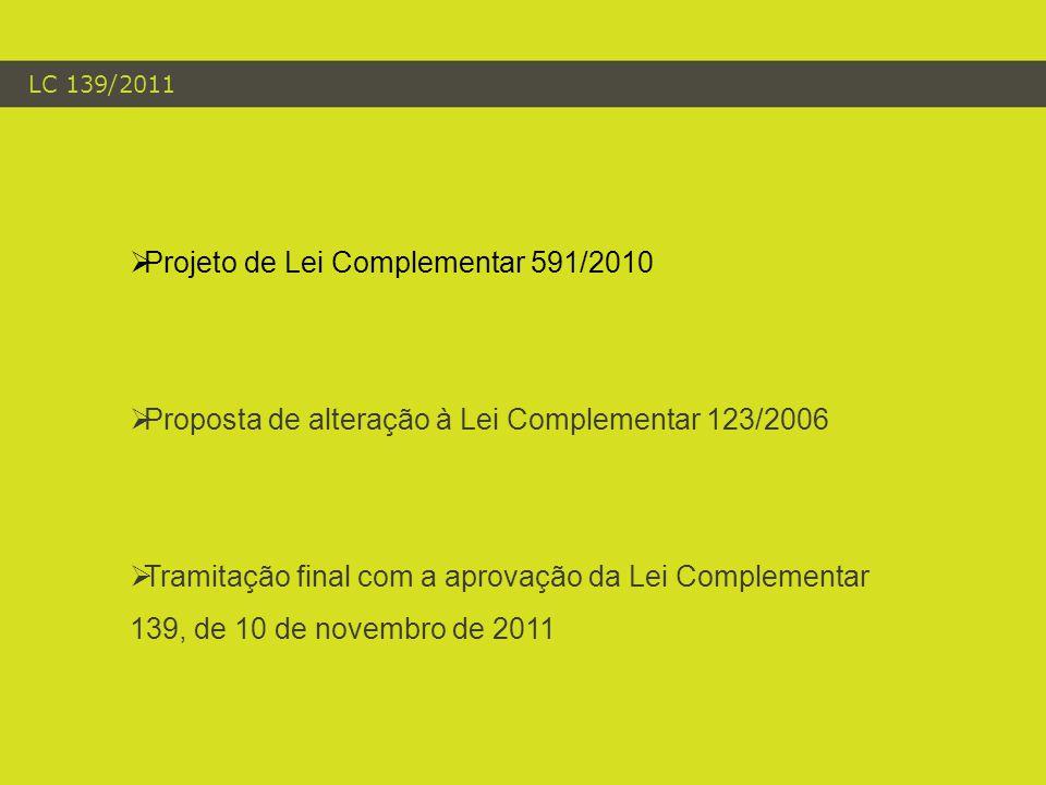 LC 139/2011  Projeto de Lei Complementar 591/2010  Proposta de alteração à Lei Complementar 123/2006  Tramitação final com a aprovação da Lei Complementar 139, de 10 de novembro de 2011