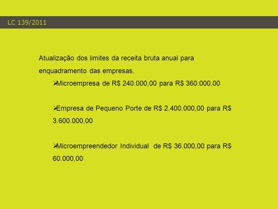 LC 139/2011 Atualização dos limites da receita bruta anual para enquadramento das empresas.  Microempresa de R$ 240.000,00 para R$ 360.000,00  Empre