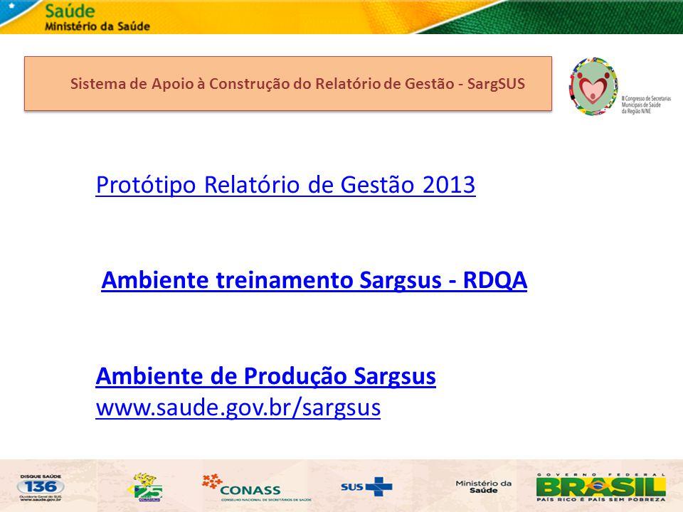 Protótipo Relatório de Gestão 2013 Ambiente treinamento Sargsus - RDQA Ambiente de Produção Sargsus www.saude.gov.br/sargsus Sistema de Apoio à Constr